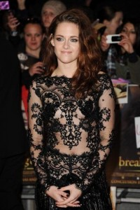 Kristen Stewart in a black see-through jumpsuit